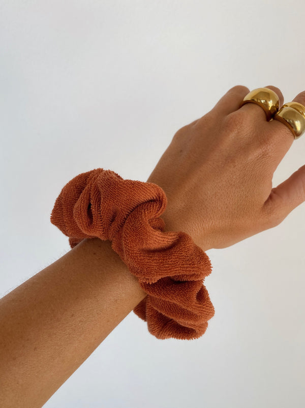 Terry Towelling Scrunchie Rust