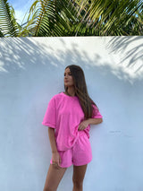 Terry Boyfriend Tee Set Pop Pink