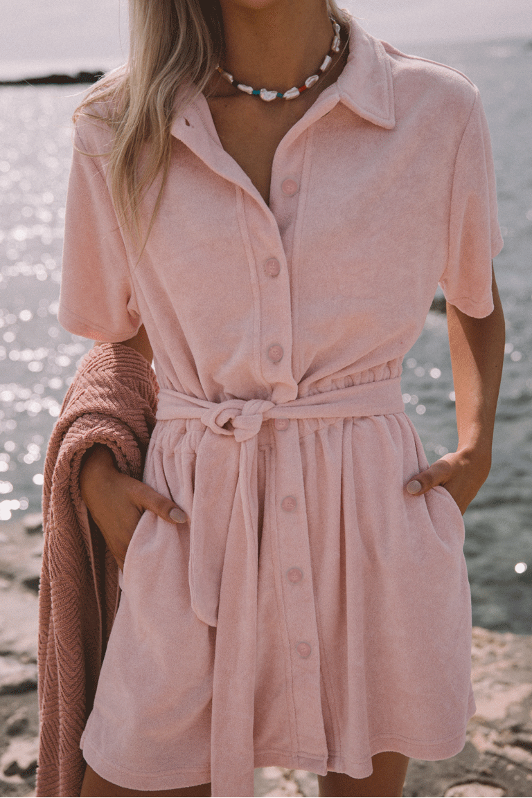 Terry Towelling Dress Dusty Rose