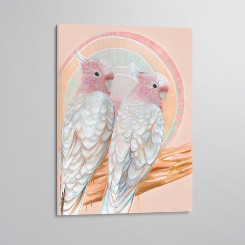 'Mitchell and Maude' Major Mitchell Cockatoo pair canvas print