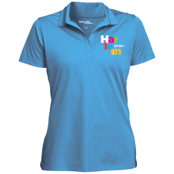 Women's Moisture Wicking Polo - Light Blue/rainbow logo
