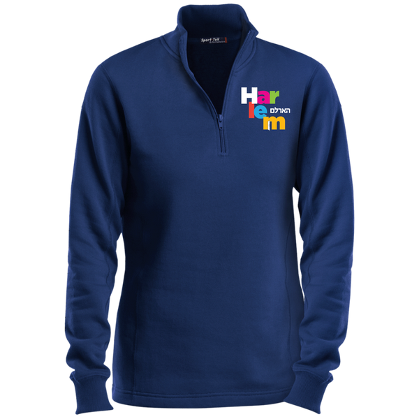 Women's 1/4 Zip Sweatshirt - Navy/Rainbow logo