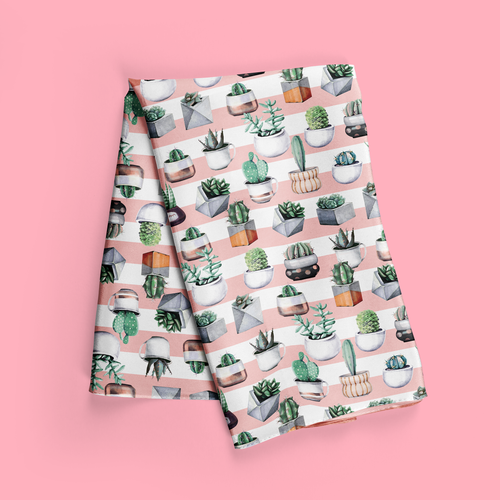 A scarf with succulent design. Give into the lure of being a crazy plant lady with this cute scarf design digitally printed on quality fabric and finished into a lovely long scarf.