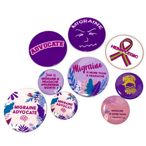 Migraine Face Button Large (2 1/4 inch) - Achy Smile Shop