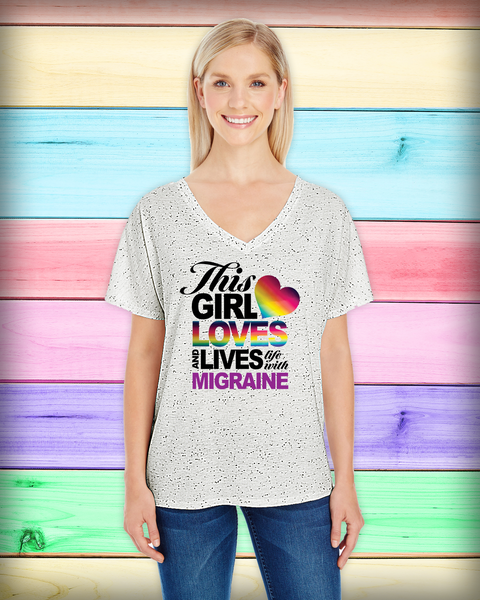 """This Girl Loves and Lives with Migraine"" Ladies Dolman V-Neck 