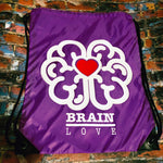 Brain Love Red Heart Cinch Sack