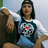 Brain Love Red Heart Raglan Baseball Tee