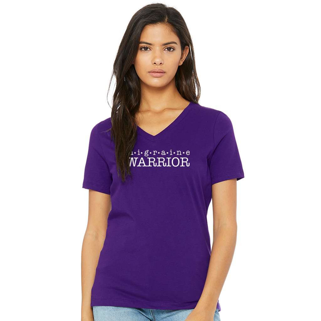 Migraine Warrior Ladies Relaxed V-Neck Tee - Achy Smile Shop
