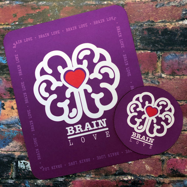 Brain Love Red Heart Mousepad & Coaster Set