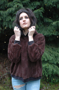 furry fleece hoodie // chocolate brown