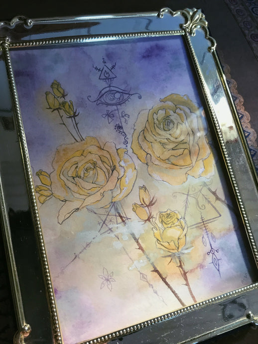 roses in yellow // framed original art