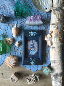 crystal witch mini painting in antique frame