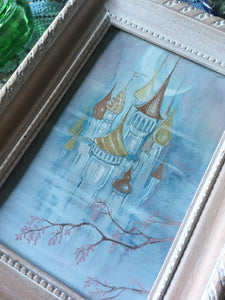 castle in the clouds framed mini painting