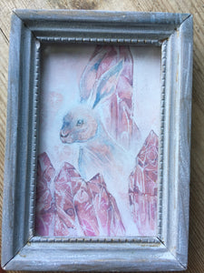 crystal hare framed mini painting