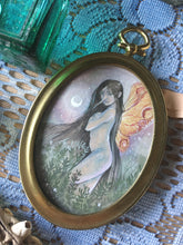 Load image into Gallery viewer, night fae oval mini painting