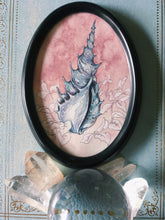 Load image into Gallery viewer, blue shell framed oval mini painting