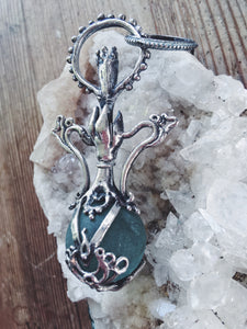 green elixir // magic potion silver pendant with antique glass