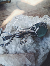Load image into Gallery viewer, green elixir // magic potion silver pendant with antique glass