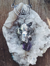 Load image into Gallery viewer, leucrocotta // silver moon wolf pendant with amethyst