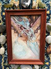 Load image into Gallery viewer, blue glass fae (framed)
