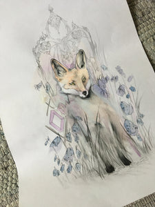 kindly fox (pencil and watercolour)