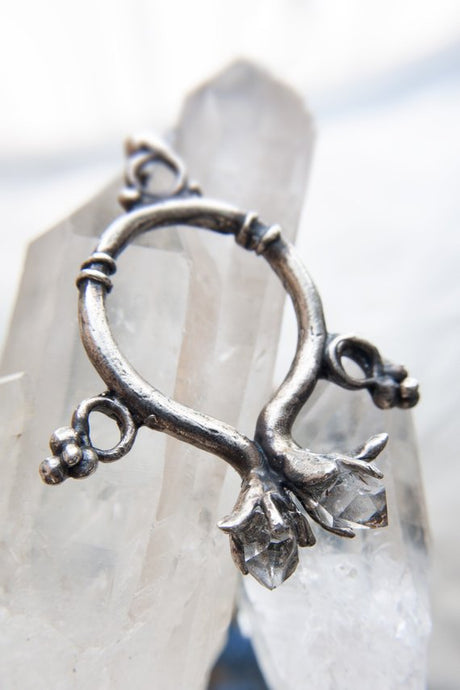 protection charm // changeling's amulet // silver and herkimer crystal