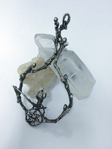faerie magic jewel // faerie medallion // silver and herkimer crystal