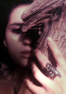 silver wood magic ring // cloven pine