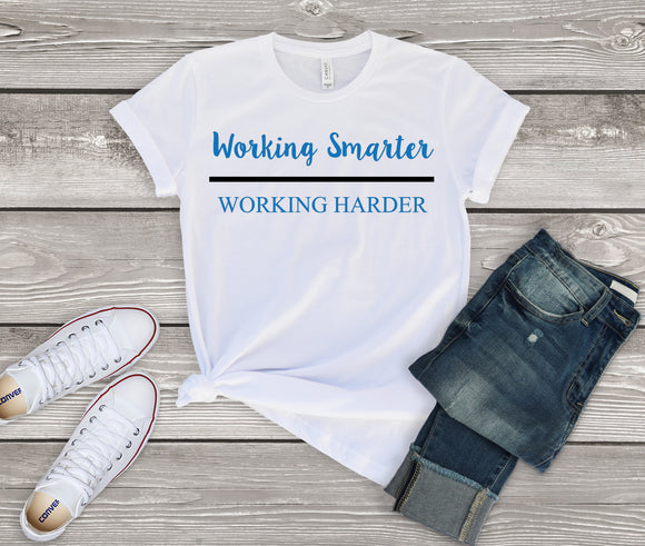 Working Smarter over Working Harder - Blue (Unisex T-Shirt)