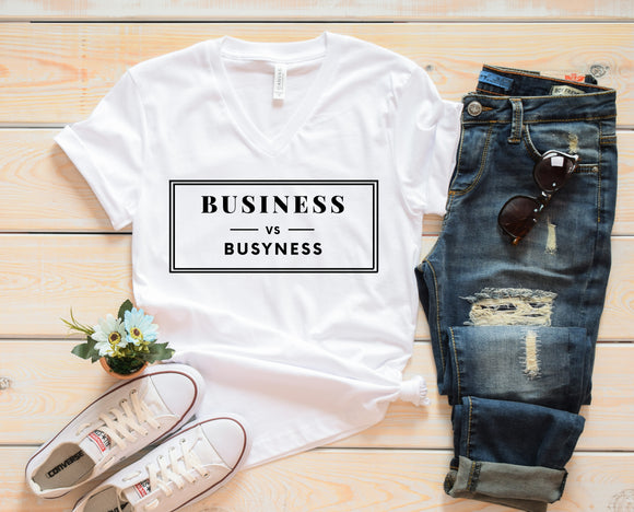 Business vs. Busyness (Unisex V-Neck T-Shirt)