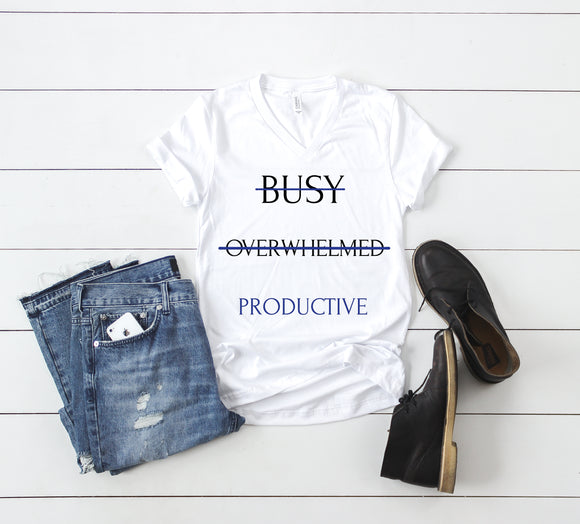 Be Productive - Blue (Unisex V-Neck T-Shirt)