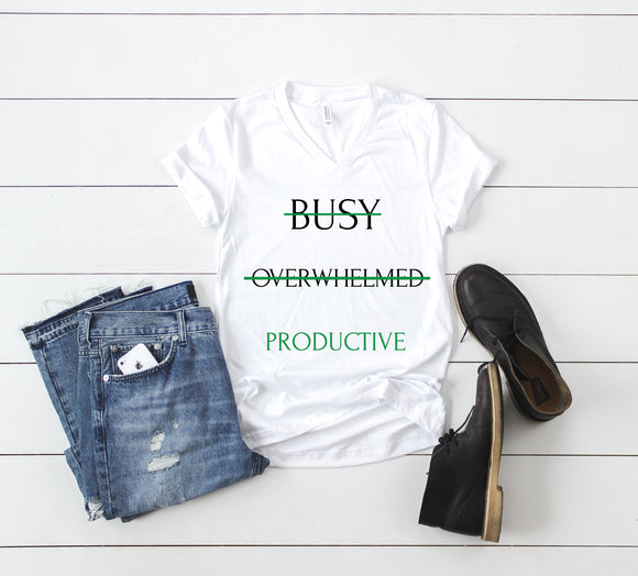 Be Productive - Green (Unisex V-Neck T-Shirt)