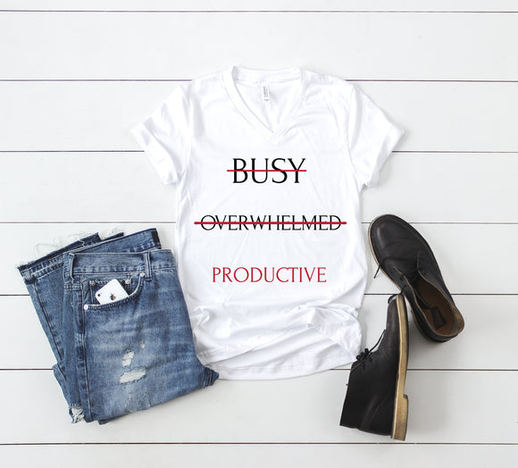 Be Productive - Red (Unisex V-Neck T-Shirt)