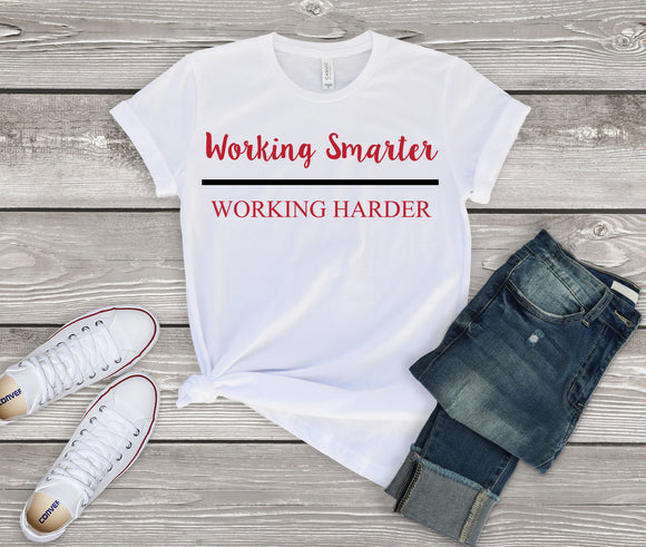 Working Smarter over Working Harder - Red (Unisex T-Shirt)