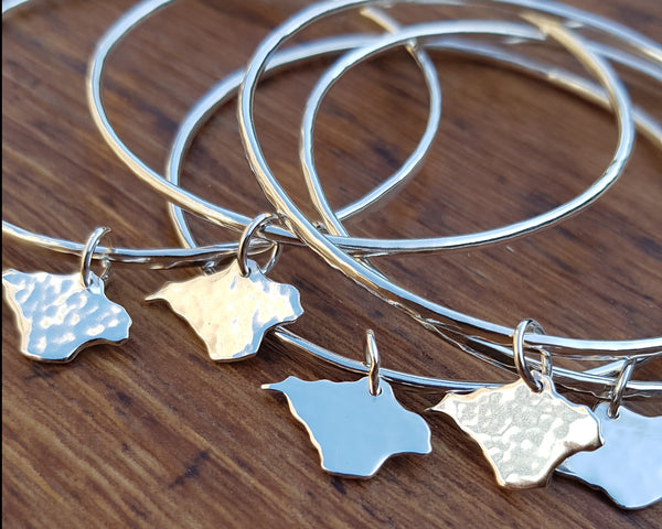 Sterling Silver Stacking Bangle with Isle of Wight Charm