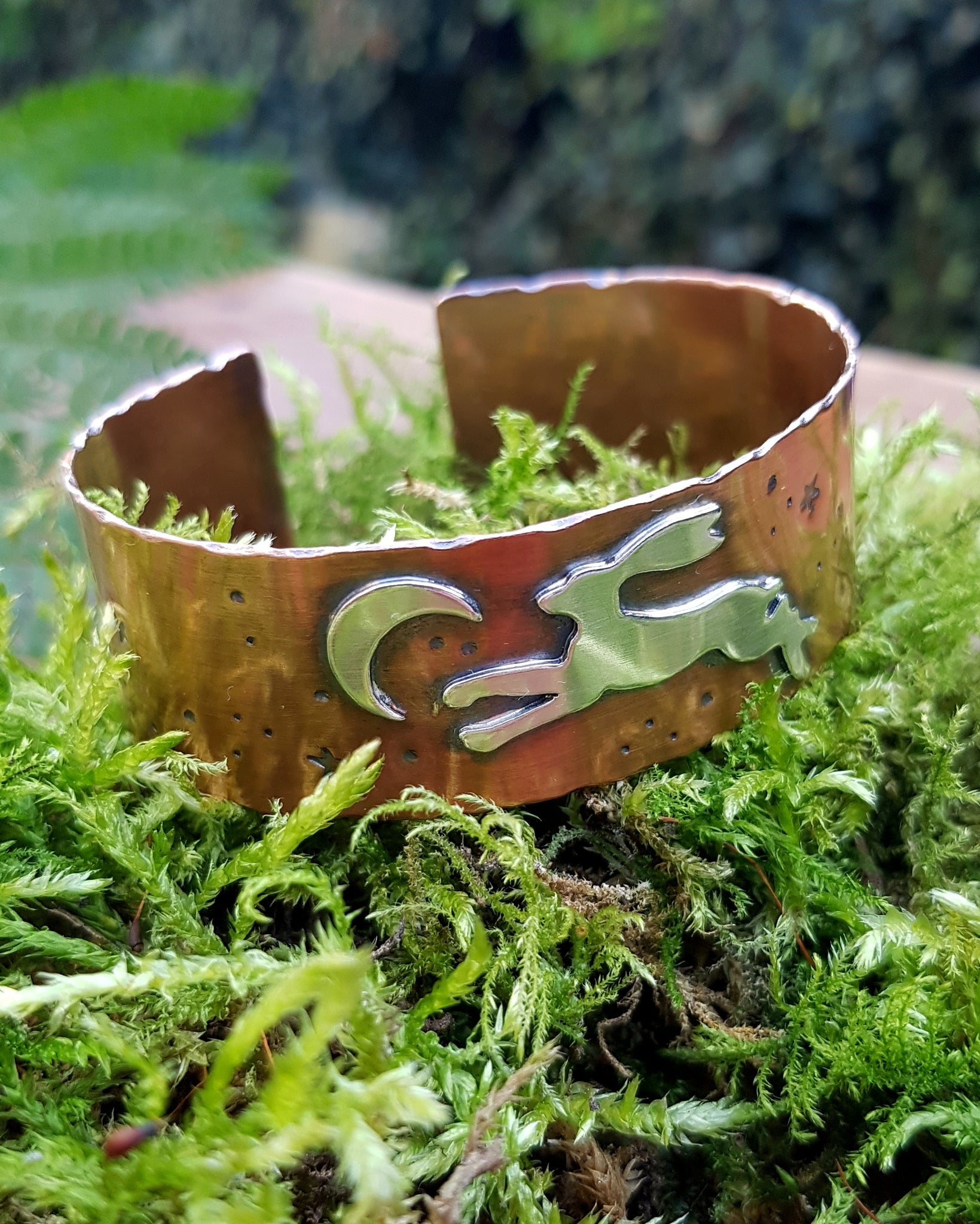 Sterling Silver Leaping Hare Copper Cuff Bracelet