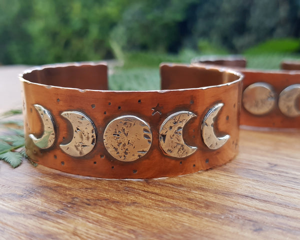 Sterling Silver and Copper Moon Phase Cuff Bangle Bracelet