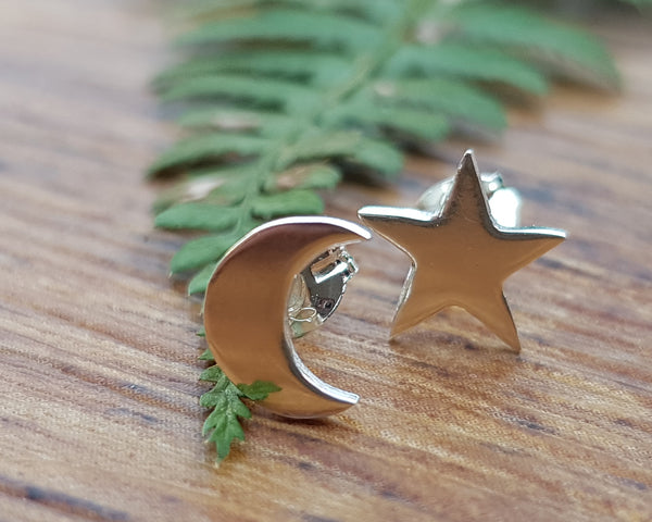 Mismatched Star and Moon Stud Earrings