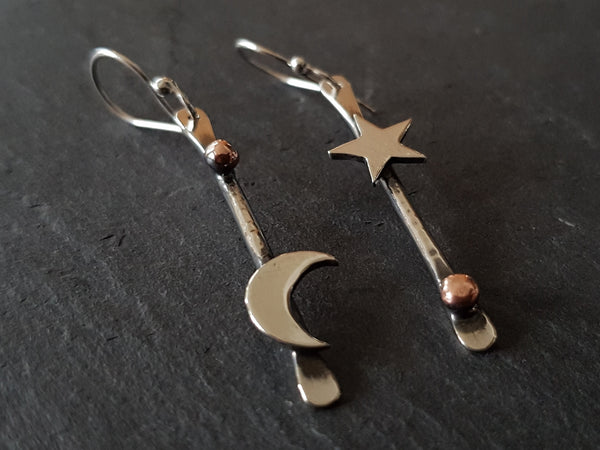 Mismatched Moon and Star Drop Earrings