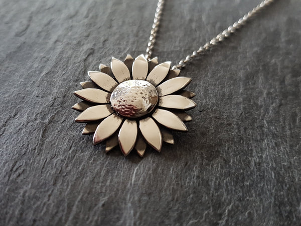 Sunflower Pendant Necklace in Sterling Silver