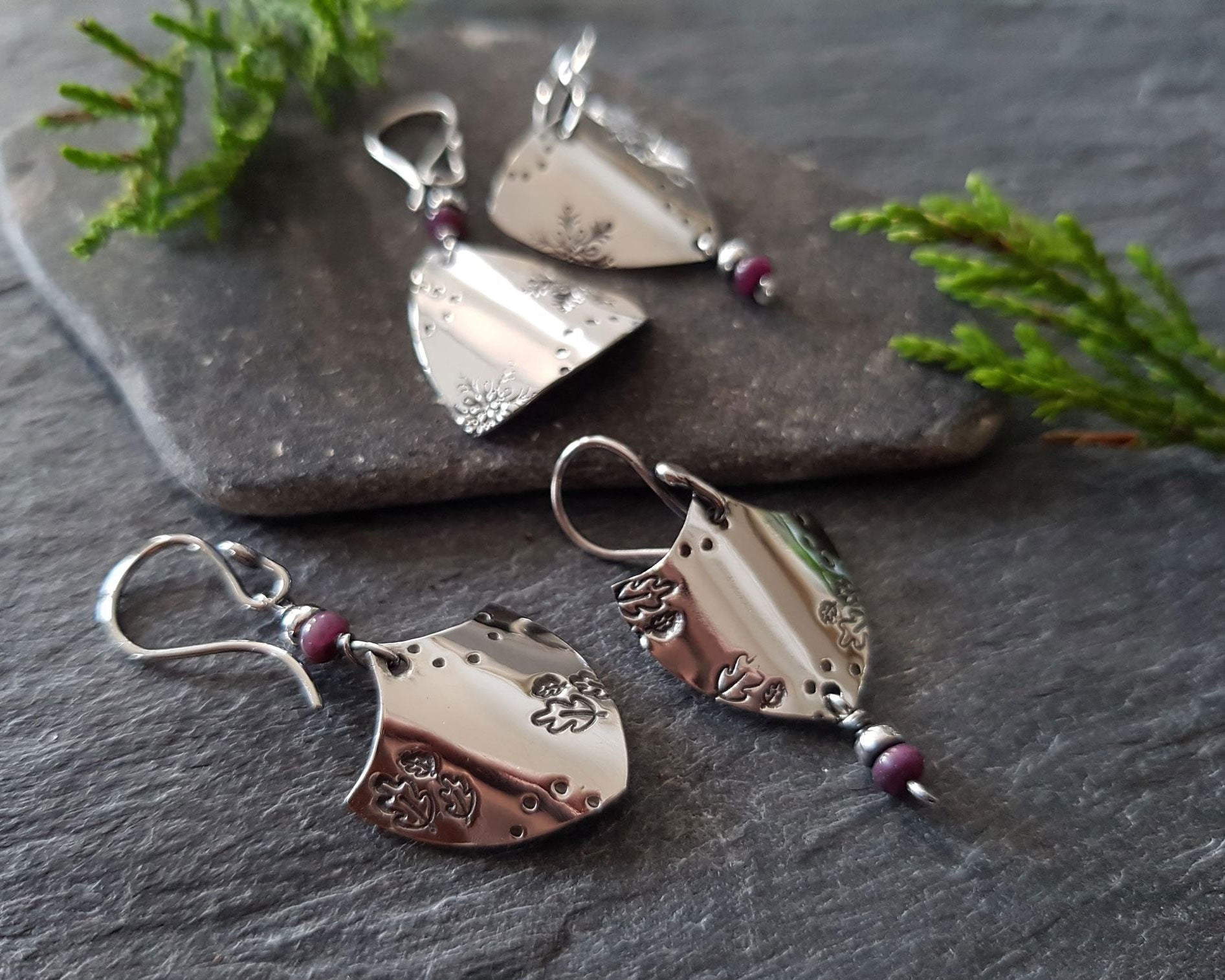 Sterling Silver Sheild Earrings With Ruby