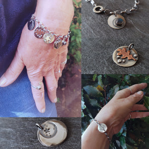 Sterling Silver Woodland Tokyn Bracelet - Choice of Tokyns: Hare, Fox, Badger, Moon, Star, Oak Leaf, Acorn, Tree