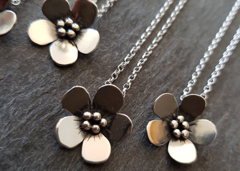 Forget-me-not Sterling Silver Pendant Necklace