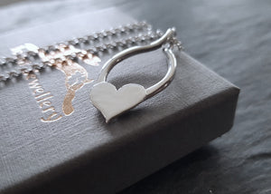 Sterling Silver Hammered Heart Pendant Necklace