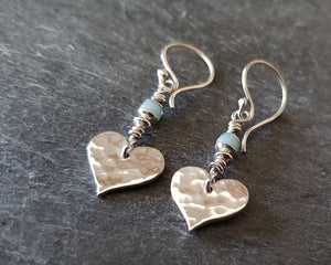 Hammered Heart and Aquamarine Drop Earrings