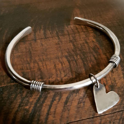 Sterling Silver Heart 'Boudicca' Torque Bangle