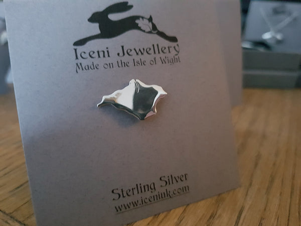 Sterling Silver Isle of Wight Lapel Pin/Tie Tack/Brooch