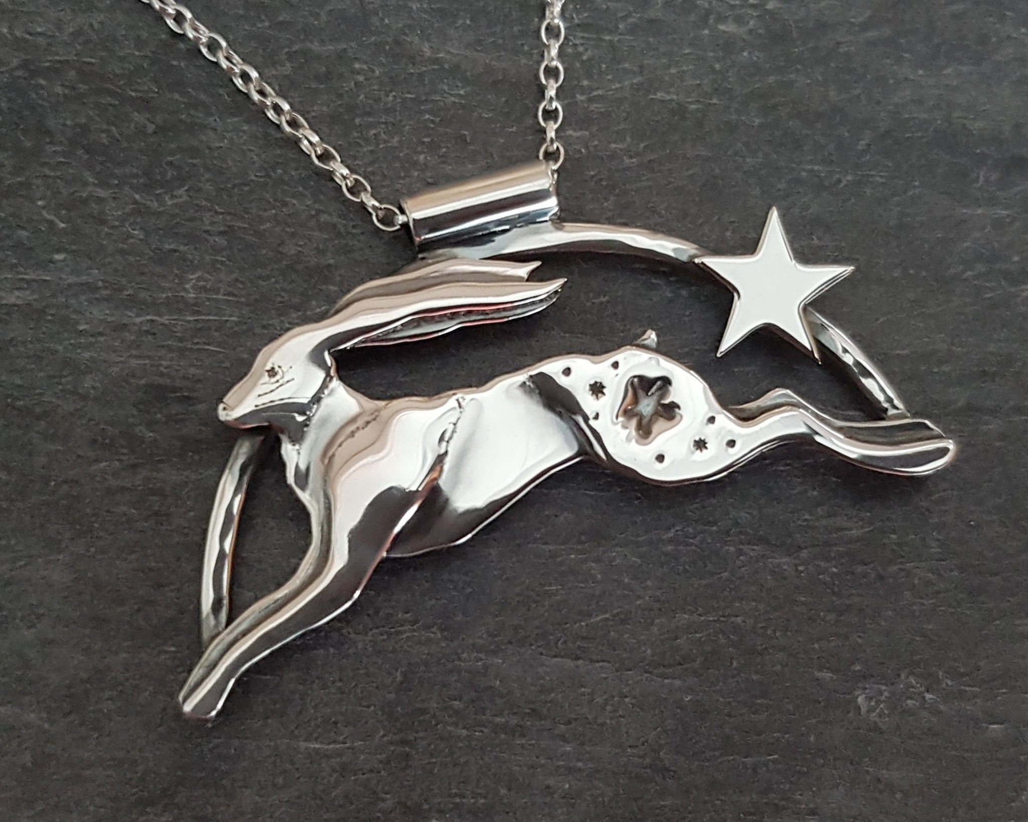 Stargazer Moonleaper Sterling Silver Hare Necklace