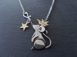 9ct Gold & Sterling Silver Little Prince Mouse Pendant and Chain