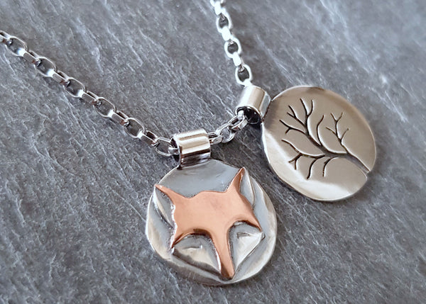 Sterling Silver Moongazing Hare, Tree or Fox Necklace